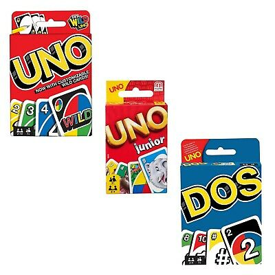 UNO DOS or uno Junior Card Games Mattel Classic Family Fun card games NEW