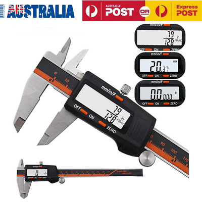 150mm 6'' Stainless Steel Electronic Digital LCD Vernier Caliper Micrometer AU