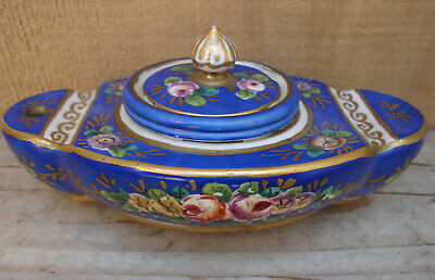 Antique, porcelain/ceramic hand painted Sevres, FRANCE inkwell....with penrests