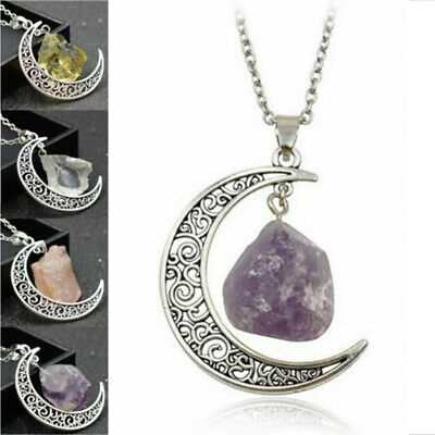 Natural Quartz Crystal Pendant Chakra Healing Gemstone Moon Necklace Jewelry USA