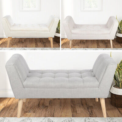 Window Seat Ottoman Fabric Foot Stool Chair Bed End Stools 2 Seats Benches Linen