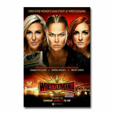 19I WrestleMania 2019 WWE Event Ronda Rousey VS Flair Print Art Silk Poster