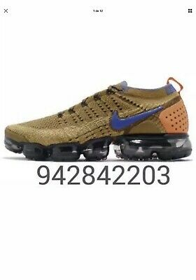 Nike air vapormax flyknit 2 athletic Golden Beige/Racer Blue 942842-203 Size 8.5