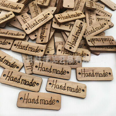 100pcs Handmade Tags Label Wooden Cardmaking Ornament Embellishment Sewing Craft