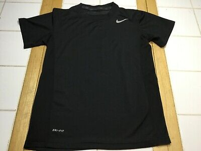 NIKE PRO Stay Cool Fitted Active Gym Training Shirt 739405 Black Boys Top Size M