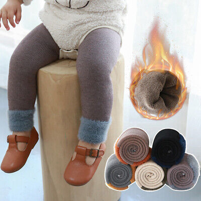 Winter Girl Toddler Child Kids Fleece Lined Thick Warm Pants Stretch Leggings