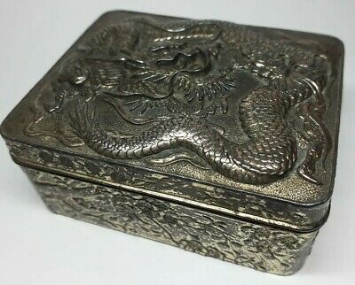 Vintage Chinese / Japanese Gilded Dragon Cherry Blossom Snuff Box