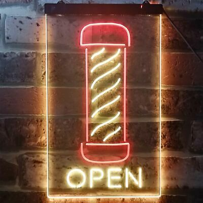 Barber Pole Hair Cut Salon Open Display Dual Color LED Neon Sign st6-i2006