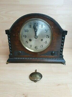 VINTAGE PENDULUM Wood MANTLE CLOCK Brass Feet - art deco?