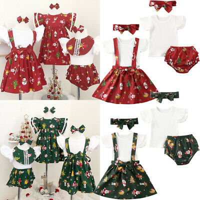 AU Toddler Kids Baby Girl Clothes Sister Matching Santa Dress Christmas Outfit