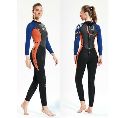 Women Wetsuit Long Sleeve Warm Diving Surfing Wet Suit Back Zip Jumpsuit