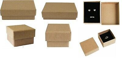 12 / 24 / 48 Pack of Natural Brown Kraft Paper Jewellery Gift Boxes Black Insert