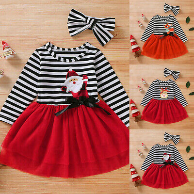 Kids Girls Christmas Princess Dress Long Sleeve Tulle Tutu Xmas Party Outfit Set