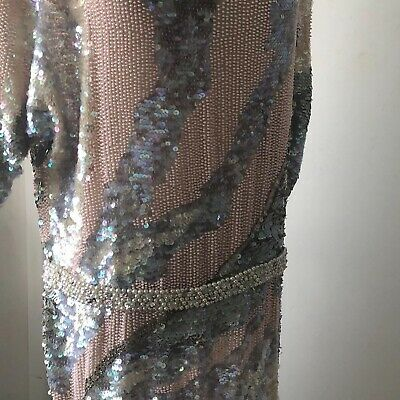 sequinned dress 3/4 Length Circa 1970's Size 8