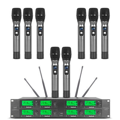 Pro Audio Wireless Microphone System UHF 8 Channel 8 Handheld Metal Dynamic Mic