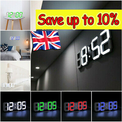 3D LED Digital Wall Clock Electronic Alarm Display Temperature Modern USB HOT*