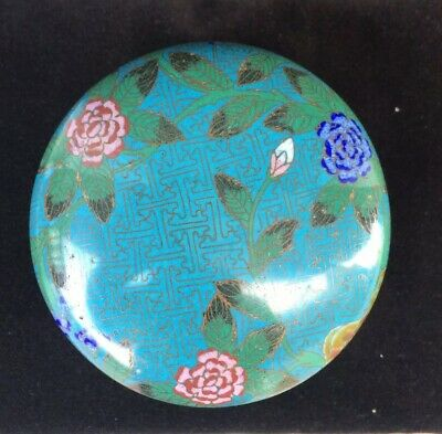 Antique Chinese Cloisonne Enamelled Bowl With Lid
