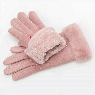 Cat Love Heart Faux Suede Gloves Thicken Warm Touch Screen Mittens Plus Velvet