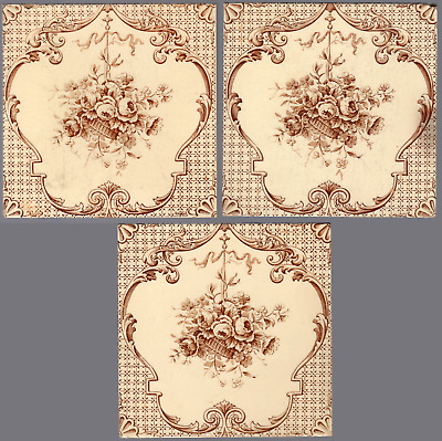 T G & F Booth - c1885 - Brown Floral Baskets - Antique Victorian Tiles