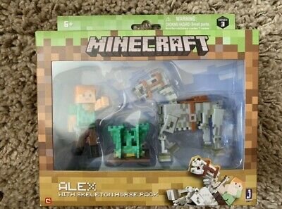 """Minecraft Alex And Skeleton Pack 3"""" Figure Alex with Skeleton Horse, Brand New"""