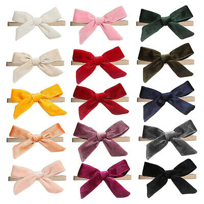 Baby Girl Solid Color Soft Velvet Bowknot Headband Kids Toddlers Hair Band Clip