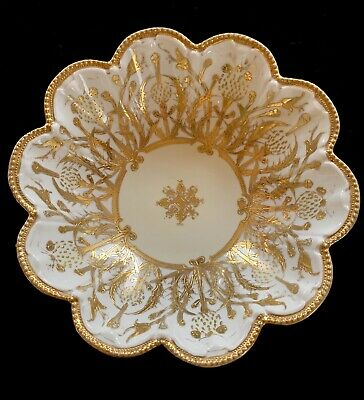 Beautiful Antique Nippon Hand Painted Heavy Gold Gilt Moriage White Serving Bowl