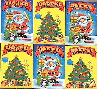 6 X Christmas Party Bag Fillers Colouring Books A6 Great Fun Activity Santa Kids