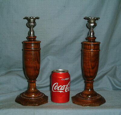 A Pair Of Vintage Art Deco -  Dark Oak Turned Wooden Candlesticks