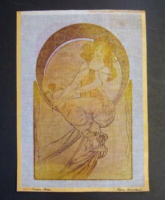 Needlepoint Canvas Signed KW Designs Mucha Rose 21'' x 15''