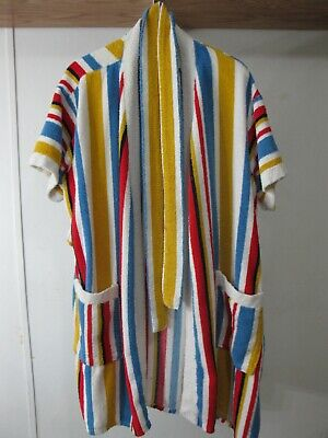 1970s Striped Terrycloth Mens Robe Bathrobe Kmart Shave Coat Retro Size L Large