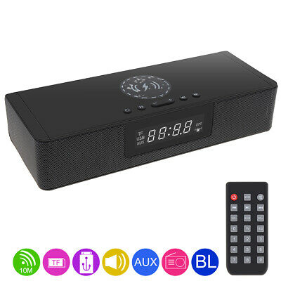 Bluetooth Soundbar Speaker Stereo Home TV with Wireless QI Charging+Microphone