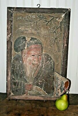 CHINESE Carved Wood Painted Relief PANEL PLAQUE Rare Glass Eyes Folk Art Asian