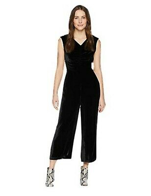 Rebecca Taylor Black Velvet Sleeveless Ruched Jumpsuit Sz 2 4 8 A20492F