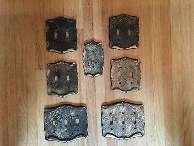 Lot Of 7 Vintage BRASS CARRIAGE HOUSE Light Switch Plates