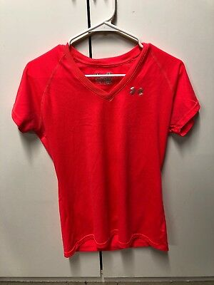 Under Armour Heat Gear Womens Semi-fitted V Neck Pink Size Small