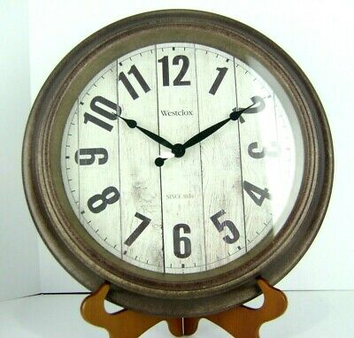 Westclox Wall Clock Antique Style Faux Wood Face Round Bronze Tone Rim Plastic