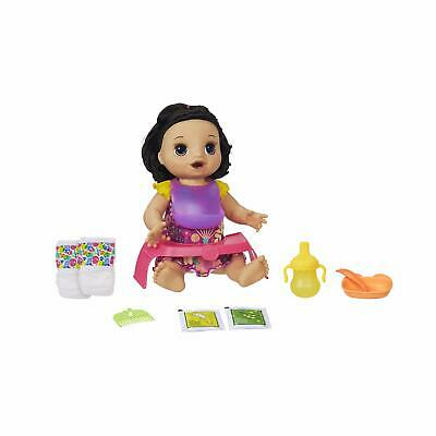 Baby Alive Happy Hungry Baby Black Straight Hair Doll Makes 50+ Sounds & Phra...
