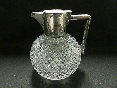 John Grinsell & Sons Cut Crystal Claret Jug/Decanter/Pitcher Silver-Plated Lid