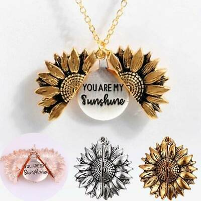 You are my sunshine Open Locket Sunflower Pendant Chain Necklace Jewelry Gifts