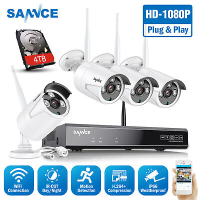 SANNCE 1080P 8CH NVR Wireless Full 2MP Security Camera System Night Vision P2P