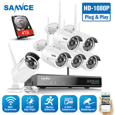 SANNCE Wireless Full 1080P 8CH NVR 2MP Security Camera System WIFI Night Vision