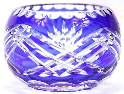 Vintage Bohemian Blue Cut To Clear Small Glass Bowl Vase Art Glass Crystal Czech