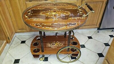Vntg INLAID Wood MARQUETRY Liquor Bar Tea Cart BRASS Wheels Trim Drop Leaf ITALY