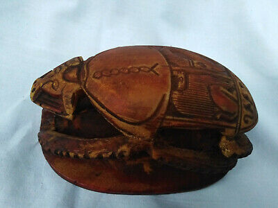 Very Rare Scarab Beetle Amulet Egypt Ancient Antique Talisman Hieroglyphics 6""