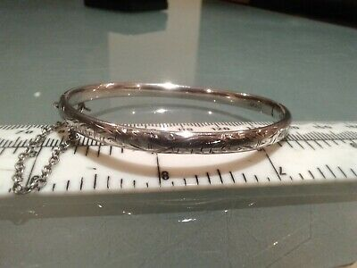 Charles Horner 925 Silver Half Engraved Bangle Chester Hall Mark 1951 in a box