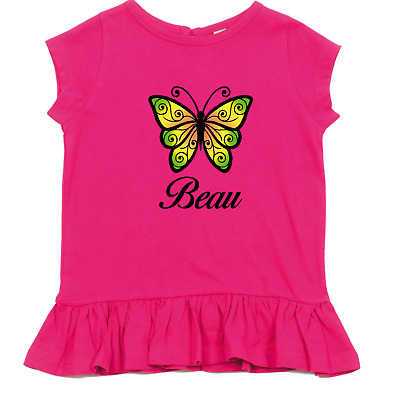 Childrens Kids Personalised Girls Colour Butterfly Custom Personalised Name