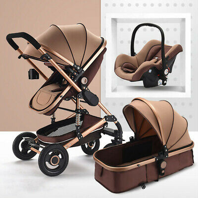2019 High end Baby Stroller 3 In 1 High View Pram foldable pushchair & Car Seat