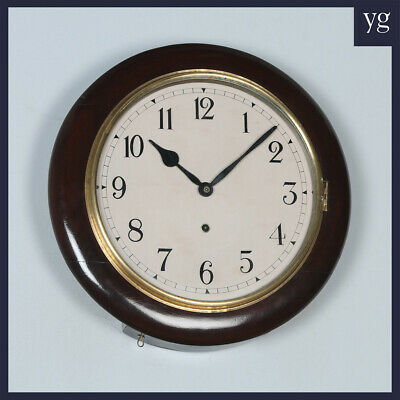 "Antique 16"" Mahogany Ansonia Railway Station / School Round Dial Wall Clock"