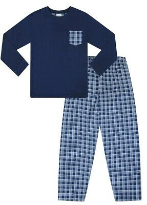 Children's Pyjamas Pjs Long  Blue Woven Cotton Girls Boys Pj