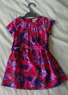 New!  Laura Ashley Girl's Red Flower Dress And Cardigan Set Age 2-3